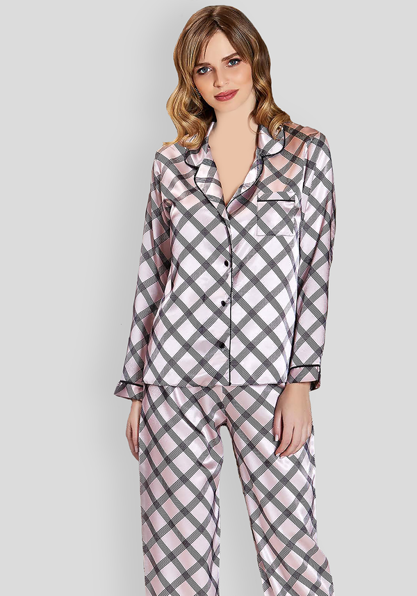 LNGR Satin Collar Button Pajama