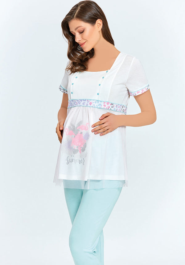 Maternal Short Sleeve Pajama - Layla Collection
