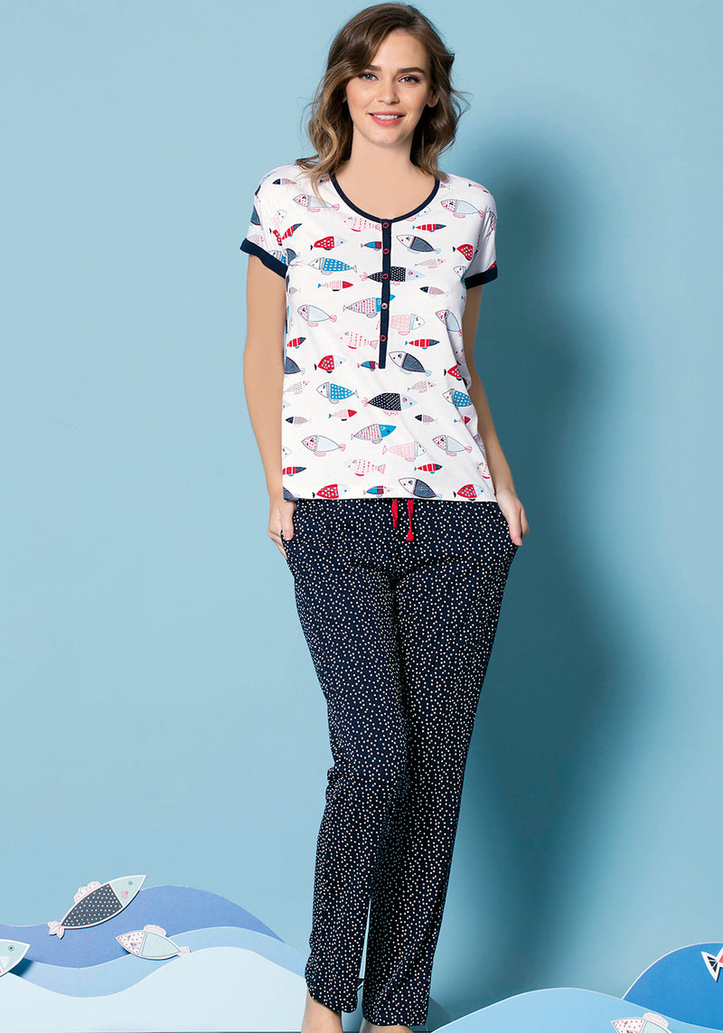S&L Fish Short Sleeve Pajama - Layla Collection