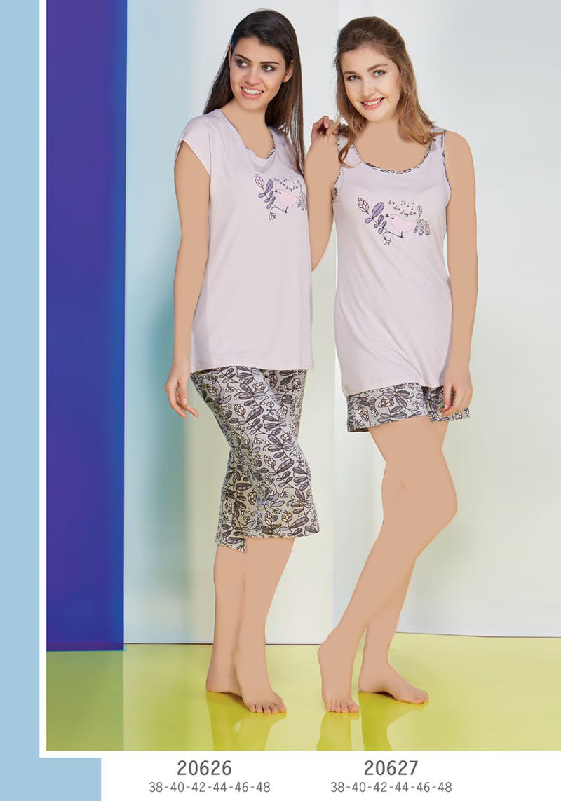 S&L Flower Bird Short Set - Layla Collection