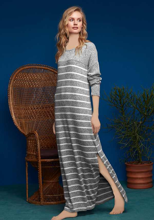 S&L Long Sleeve Long Nighty - Layla Collection