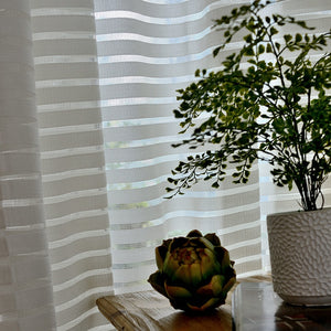 "White Striped ""Voile"" Curtains"