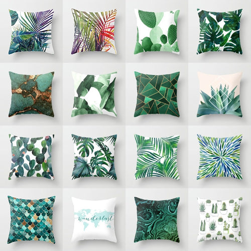 Retro Green Leaves Pillows