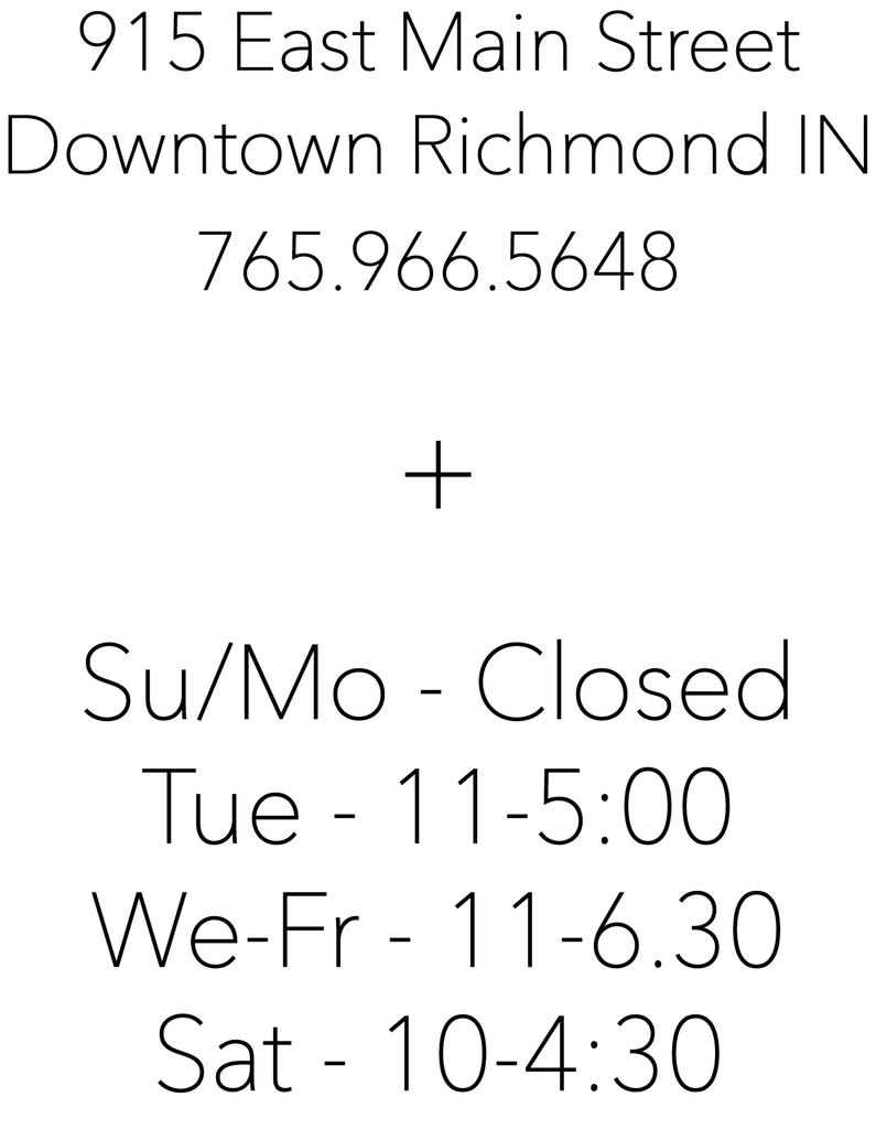 Ply, 915 East Main Street, Downtown Richmond IN, Hours, Sunday/Monday Closed, Tuesday 11:00 to 5:00, Wednesday to Friday 11:00 to 6:30, Saturday 10:00 to 4:30