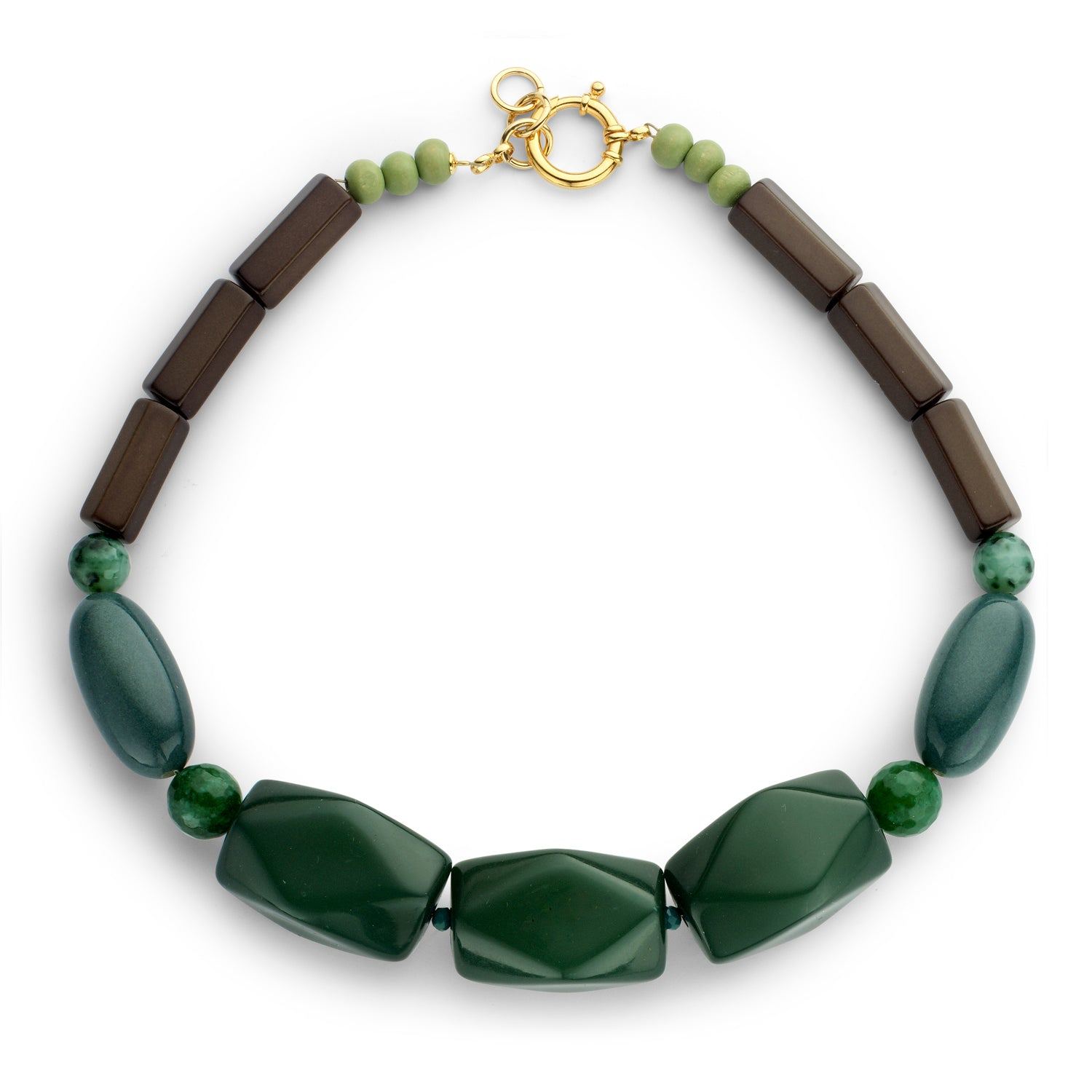 Beaded single necklace green