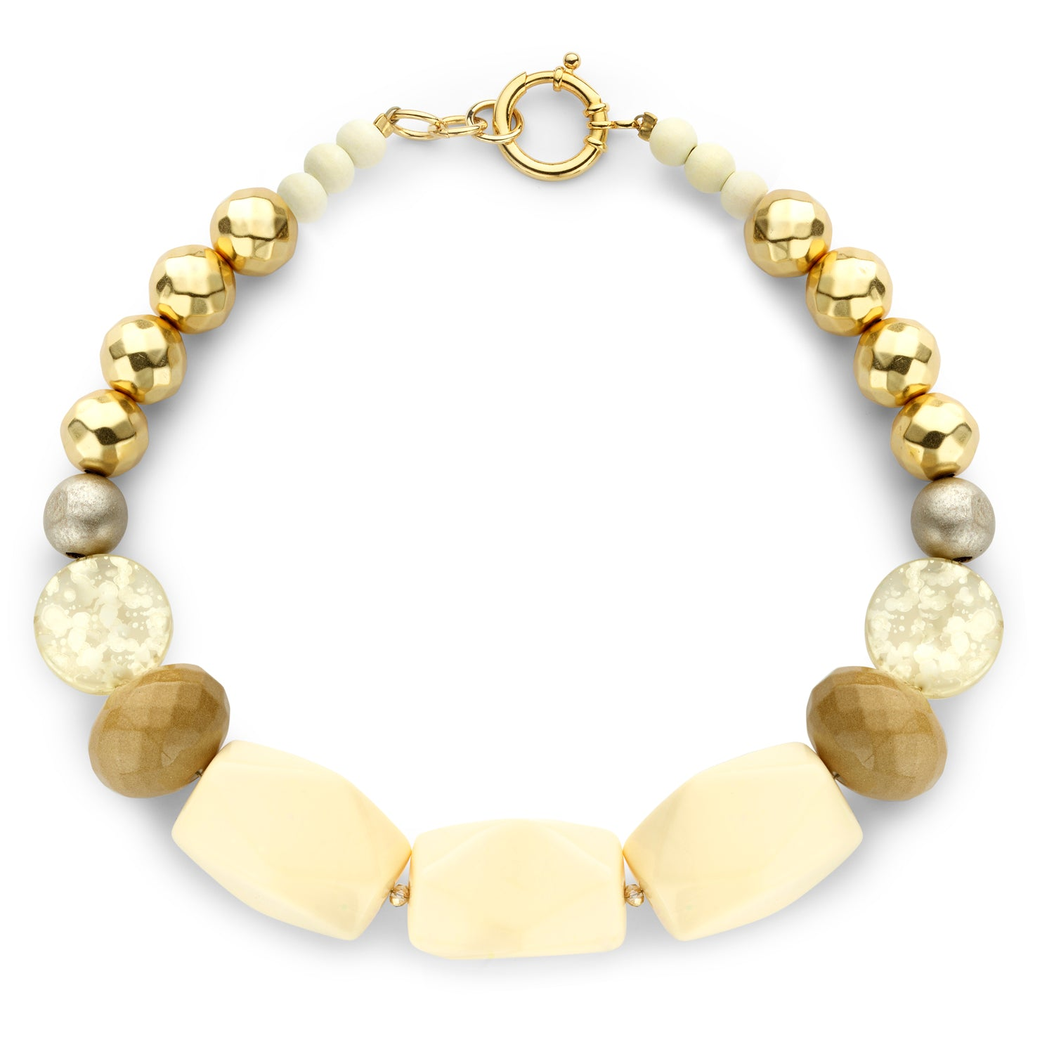 Beaded single necklace ivory beige