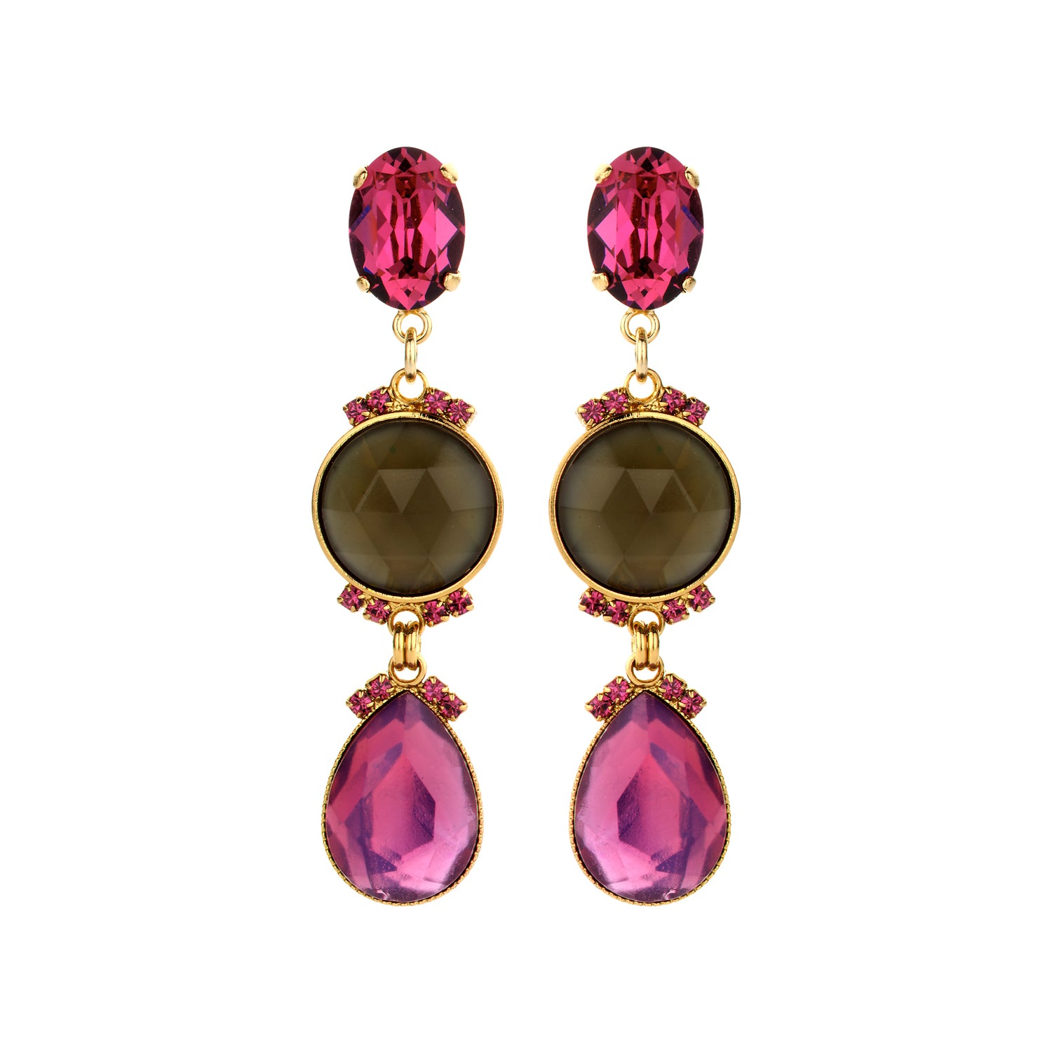 Ivy large earring fuchsia
