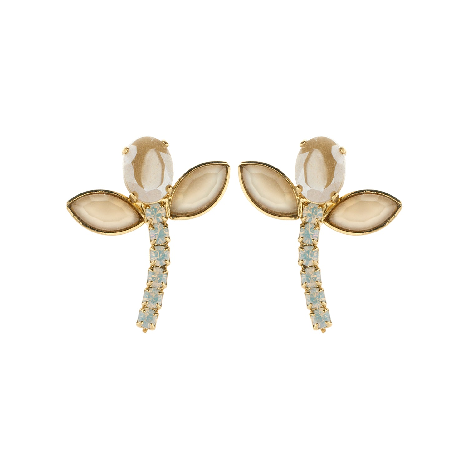 Bridal short earring nude/beige