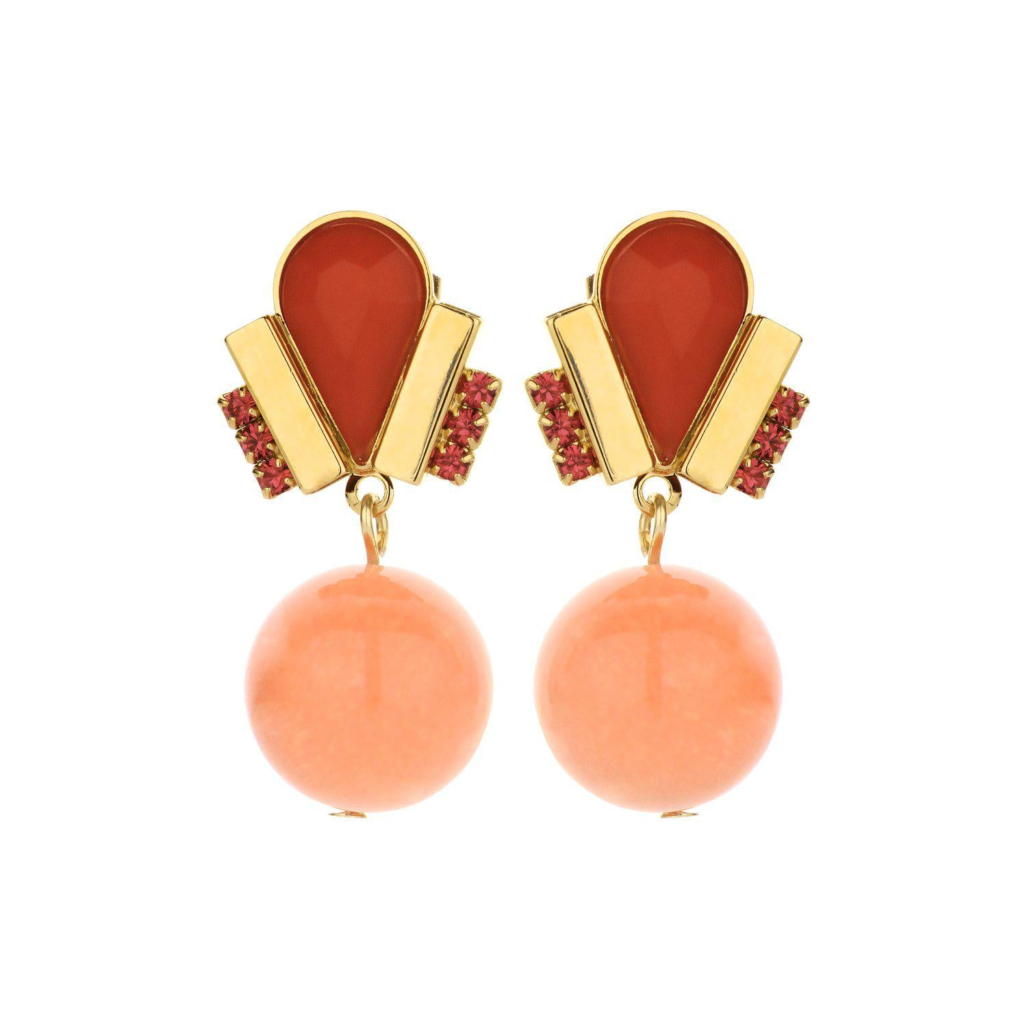 Ducre short earring orange-oorbellen-Souvenirs de Pomme