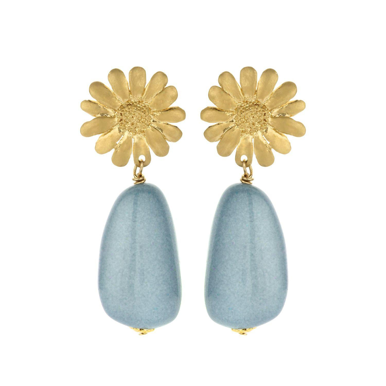 Sunbeam short statement earring blue