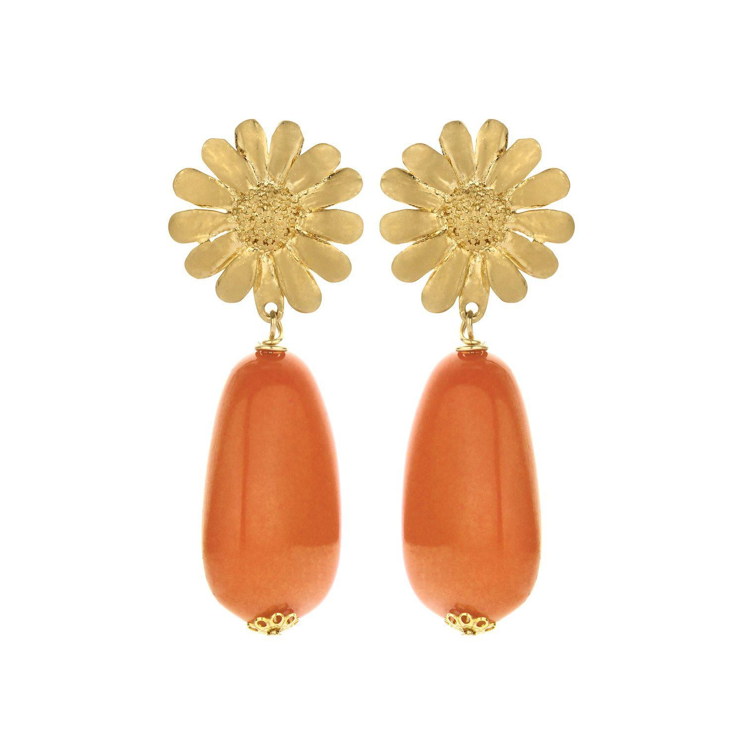 Sunbeam short statement earring orange