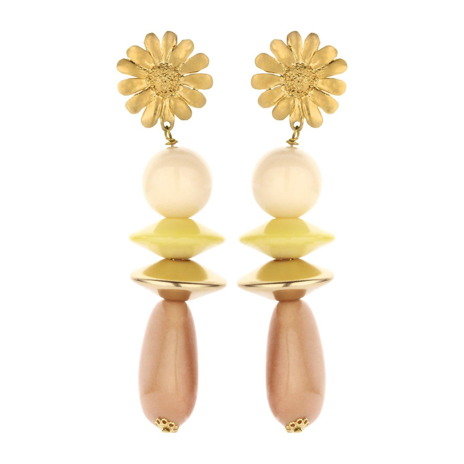 Sunbeam long statement earring nude