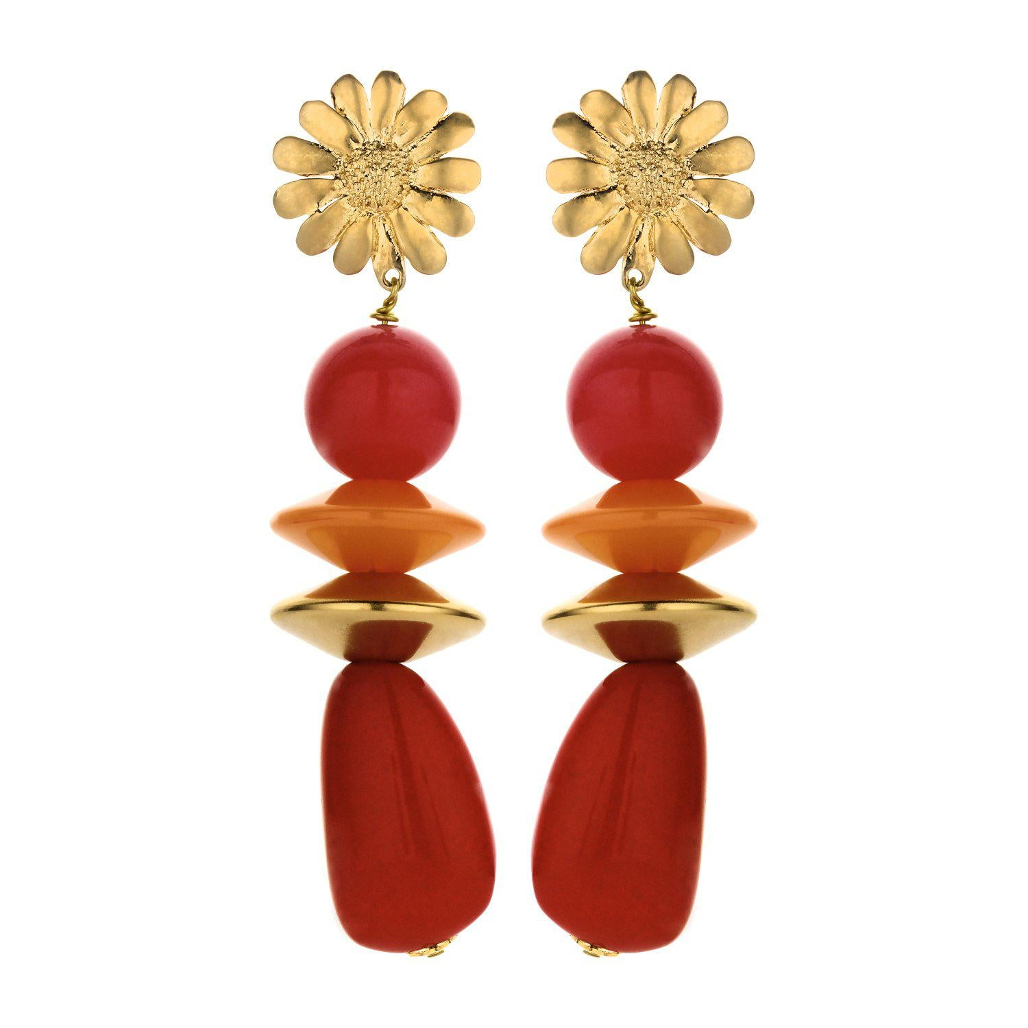 Sunbeam long statement earring red