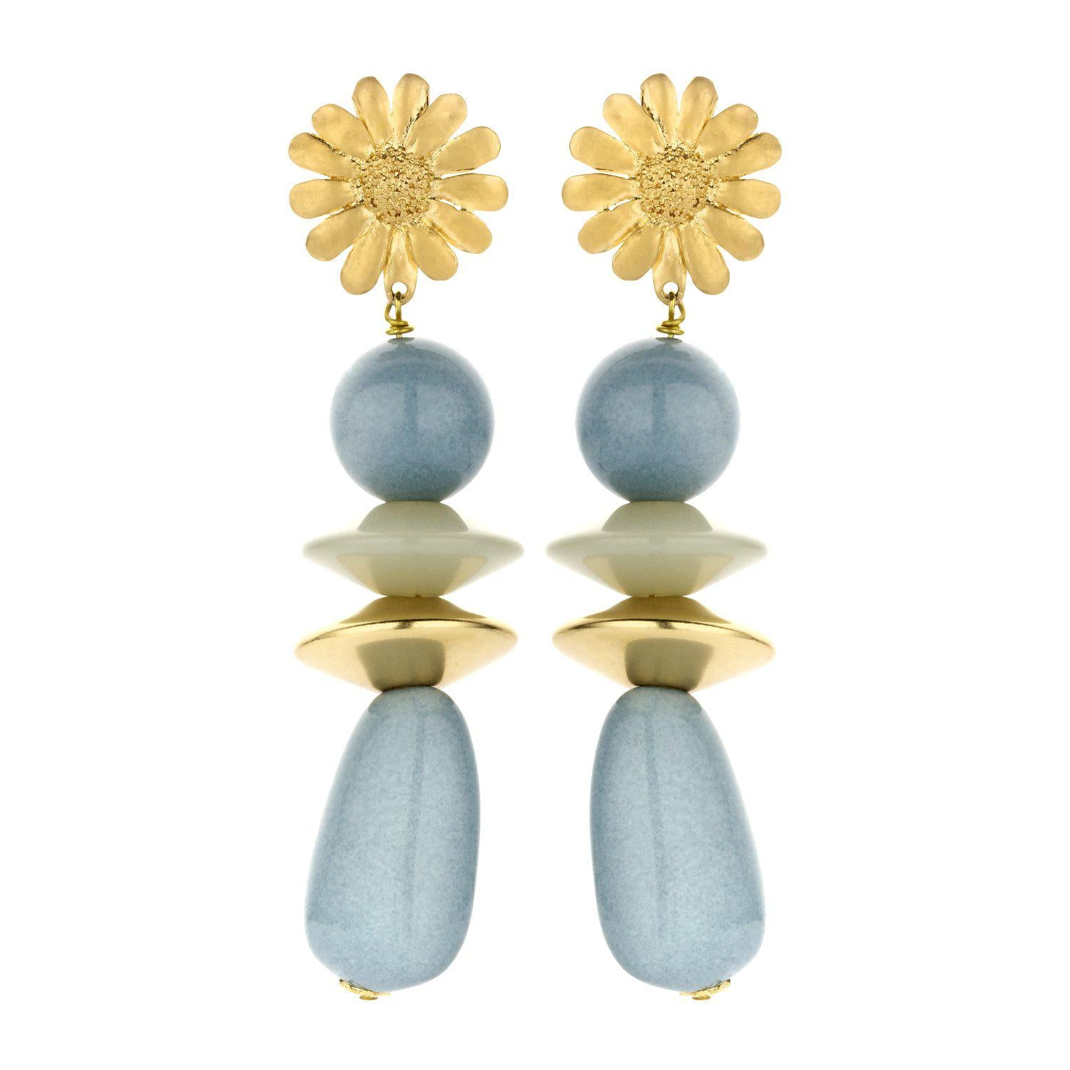 Sunbeam long statement earring blue