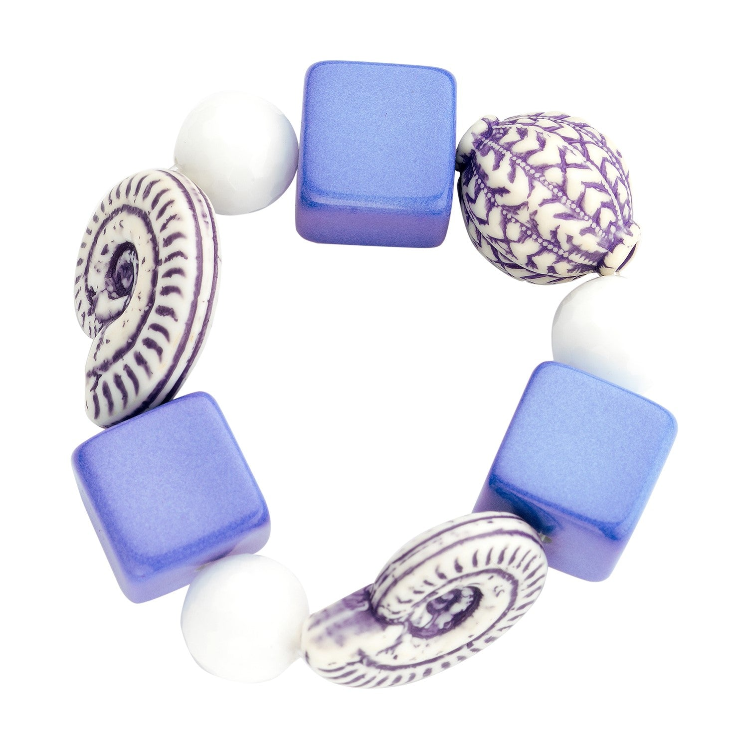 Beaded candy bracelet blue white