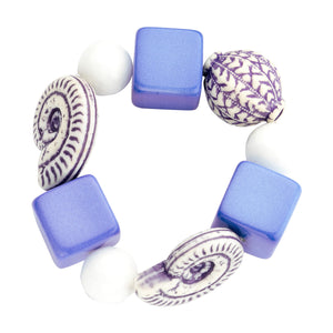 Beaded candy bracelet blue white - Souvenirs de Pomme