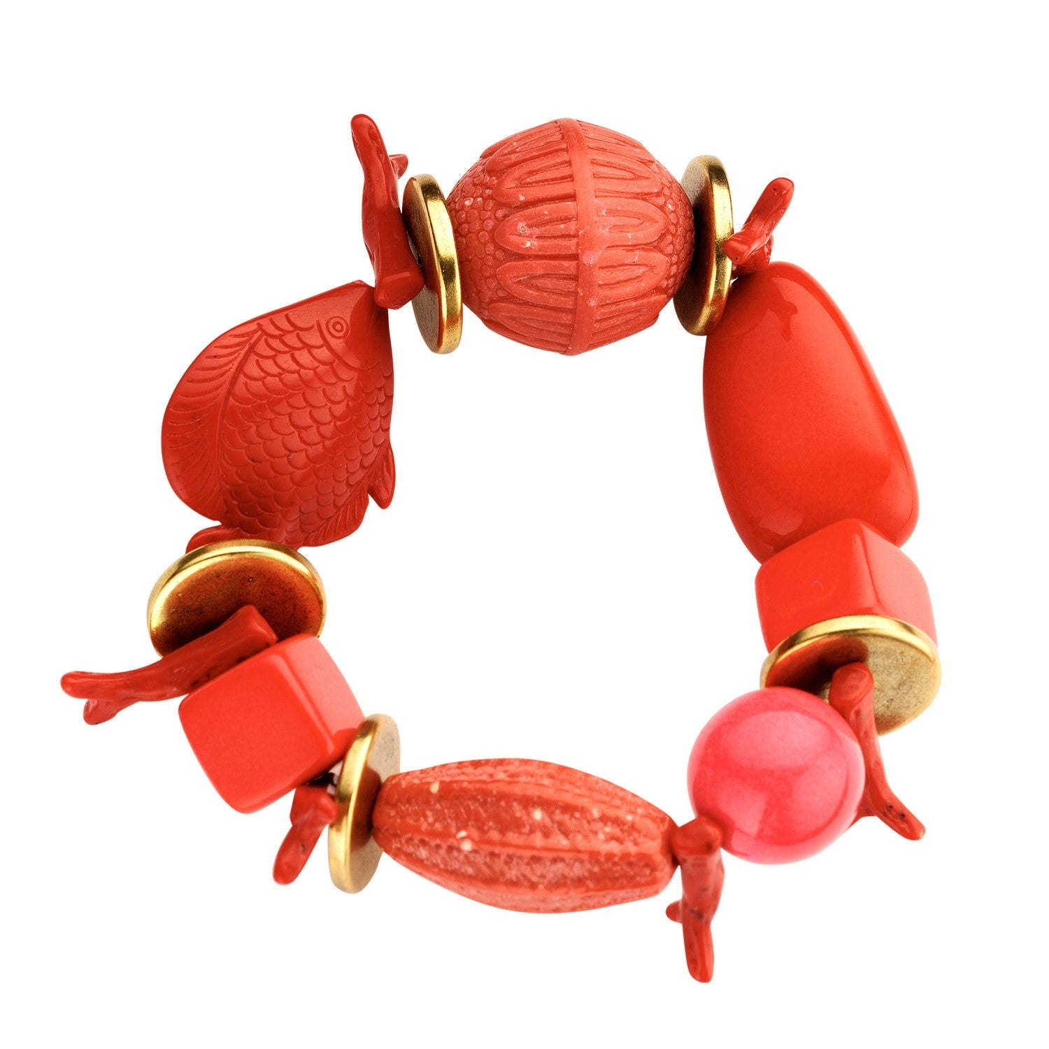 Beaded candy bracelet coral red - Souvenirs de Pomme