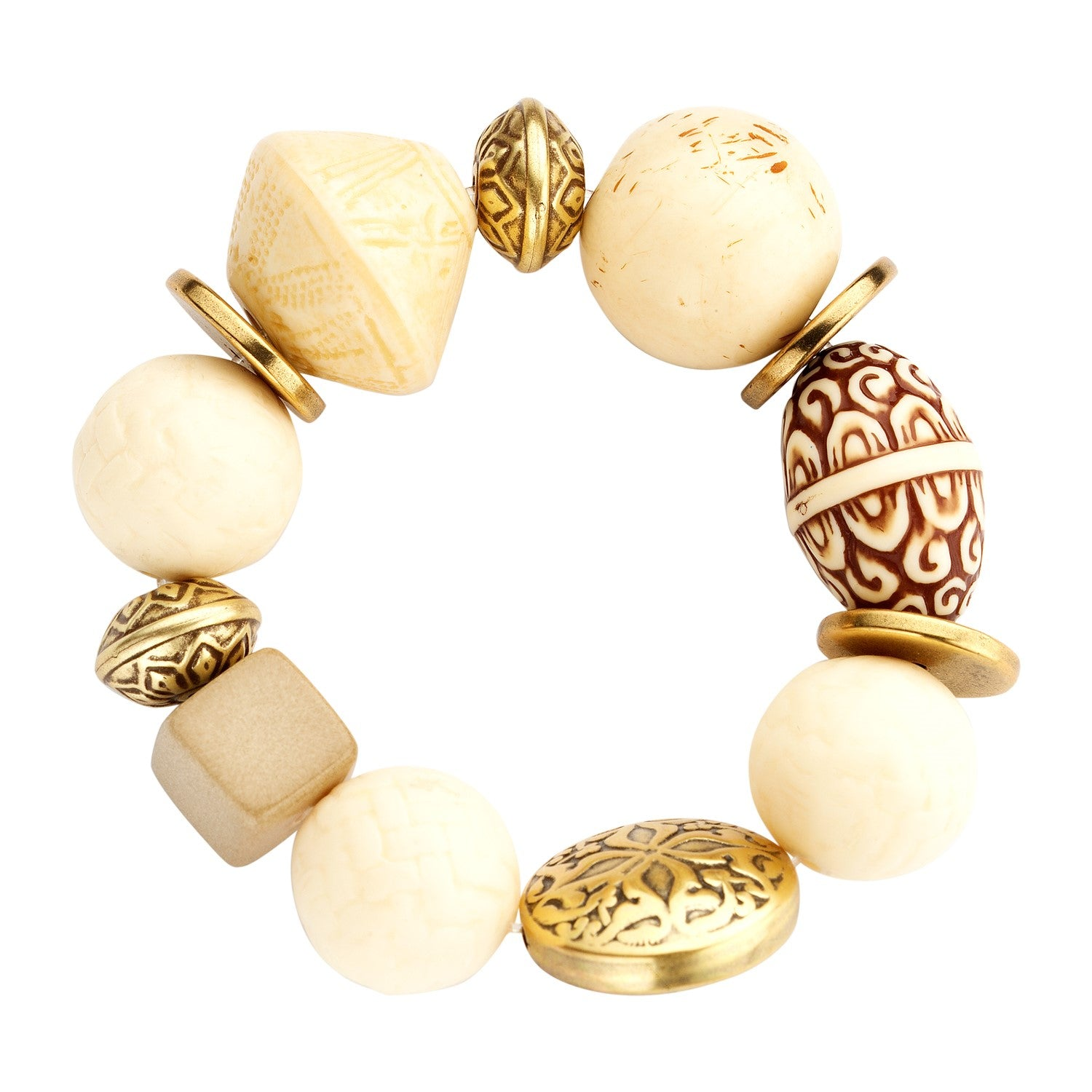 Beaded candy bracelet ivory safari