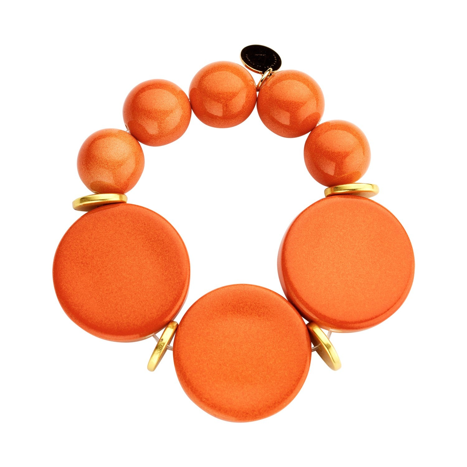 Beaded candy bracelet orange disks - Souvenirs de Pomme