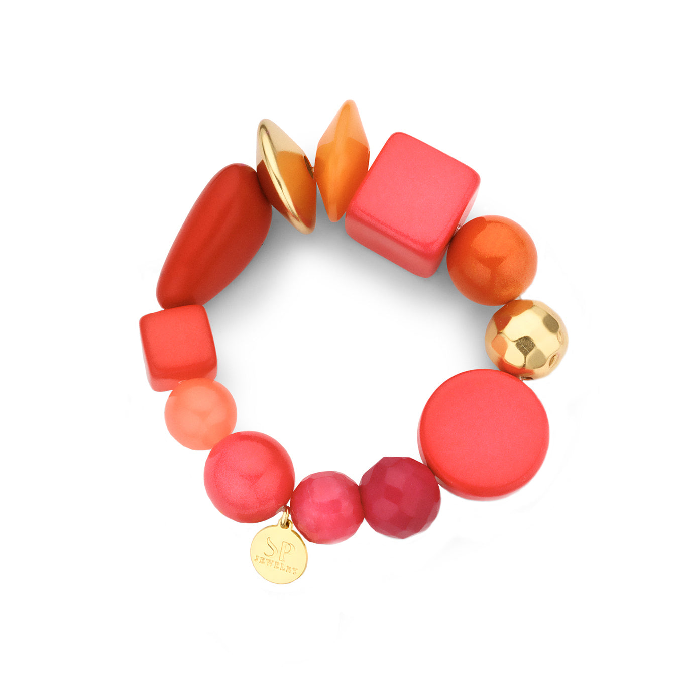 Beaded candy armband coral