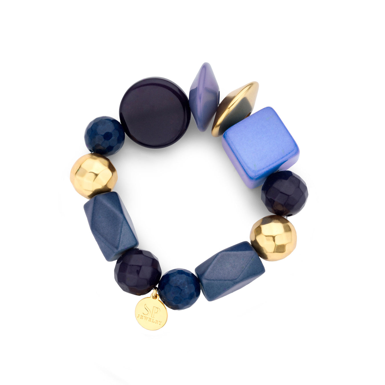 Beaded candy armband navy