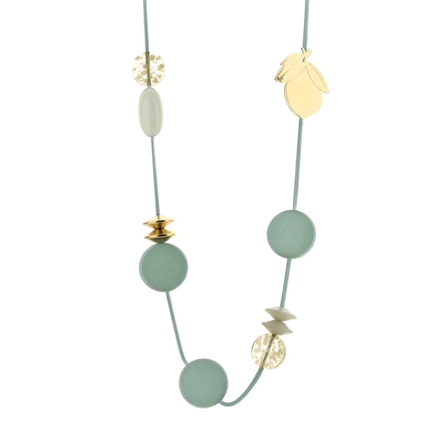 Long Cordy Lemon necklace mint-Halsketting-Souvenirs de Pomme