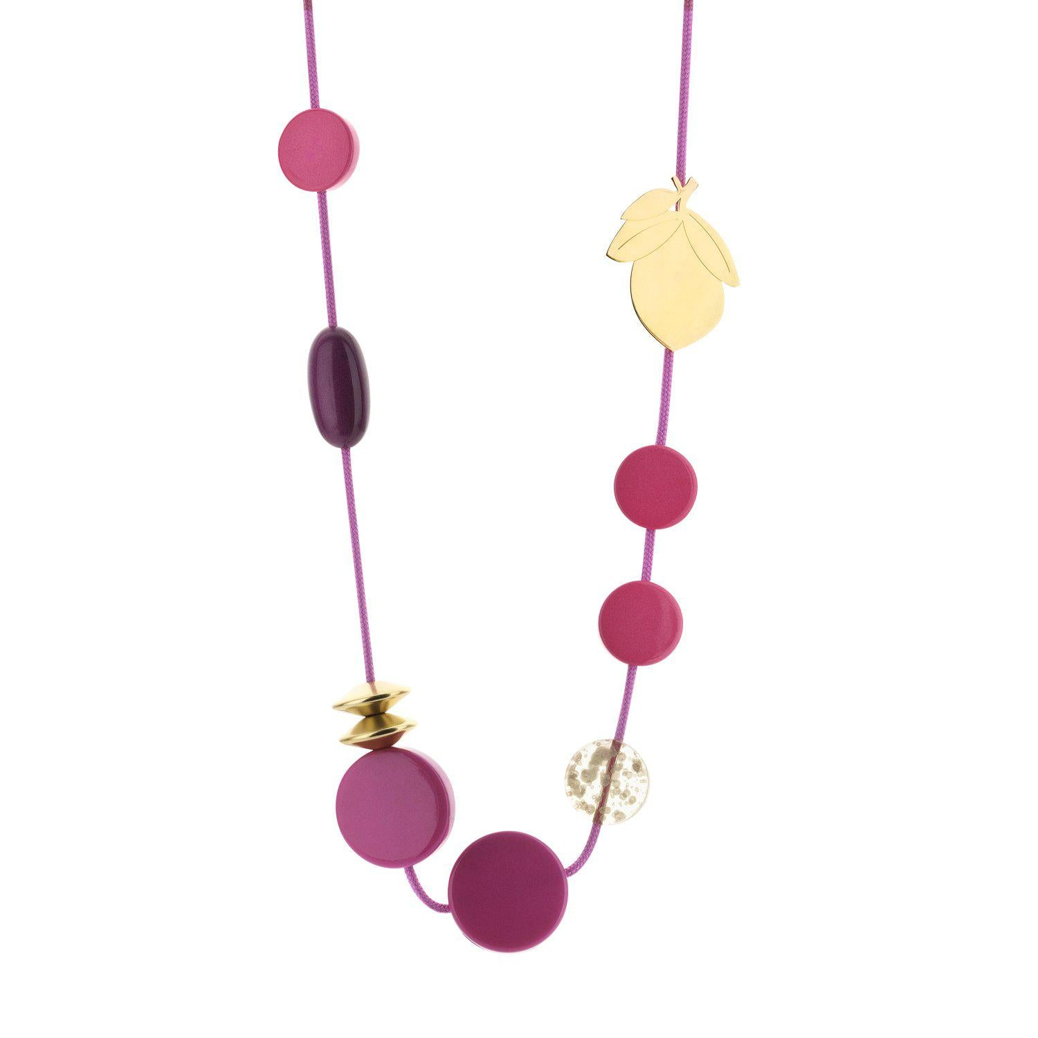 Long Cordy Lemon necklace fuchsia-Halsketting-Souvenirs de Pomme