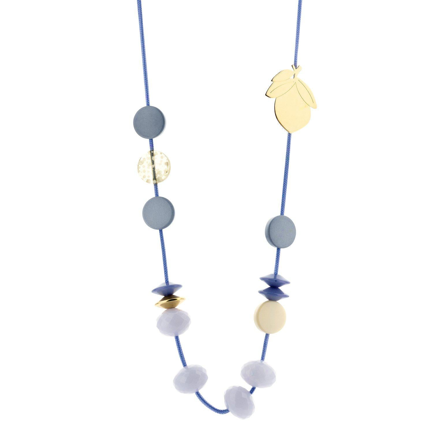 Long Cordy Lemon necklace blue-Halsketting-Souvenirs de Pomme