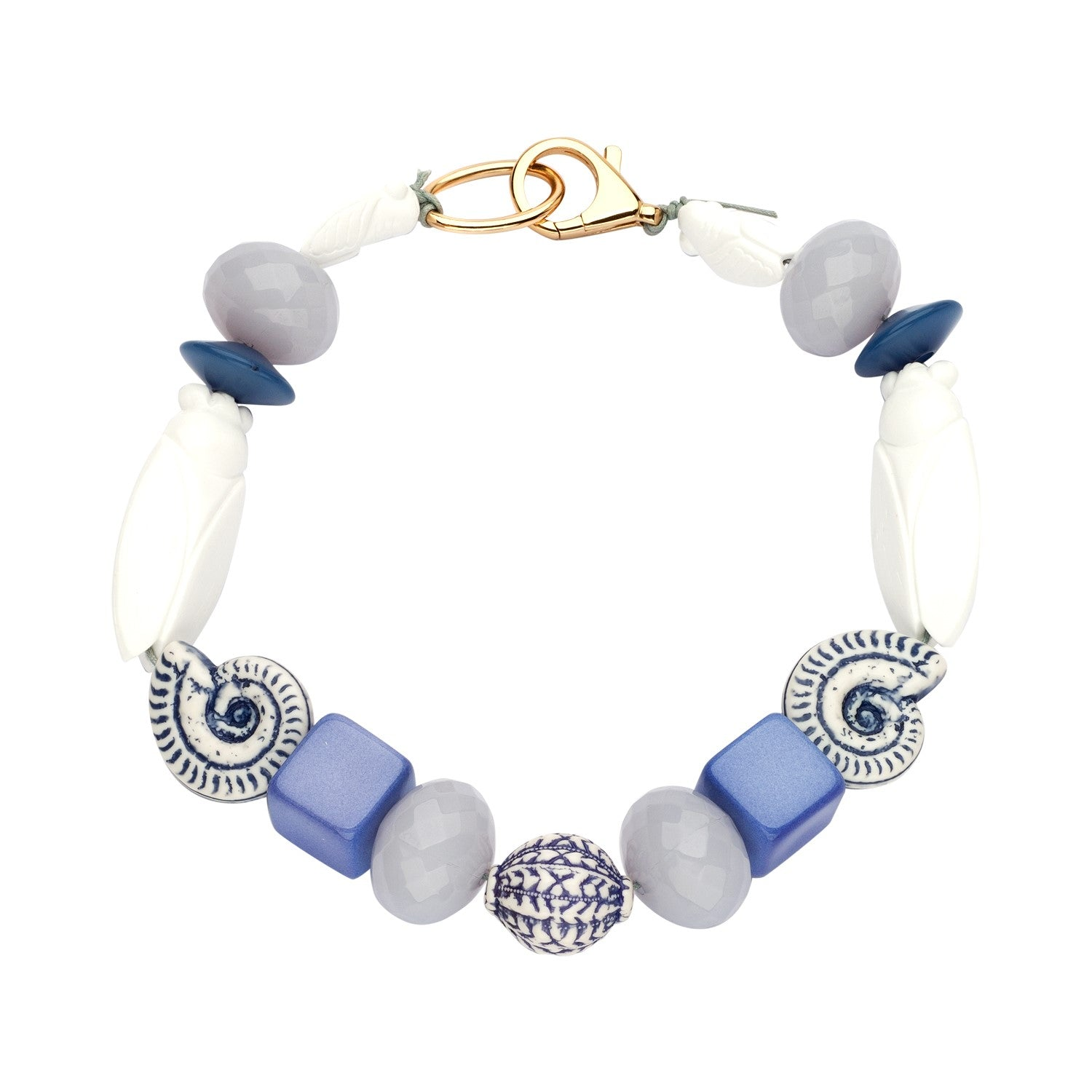 Beaded single necklace blue white - Souvenirs de Pomme