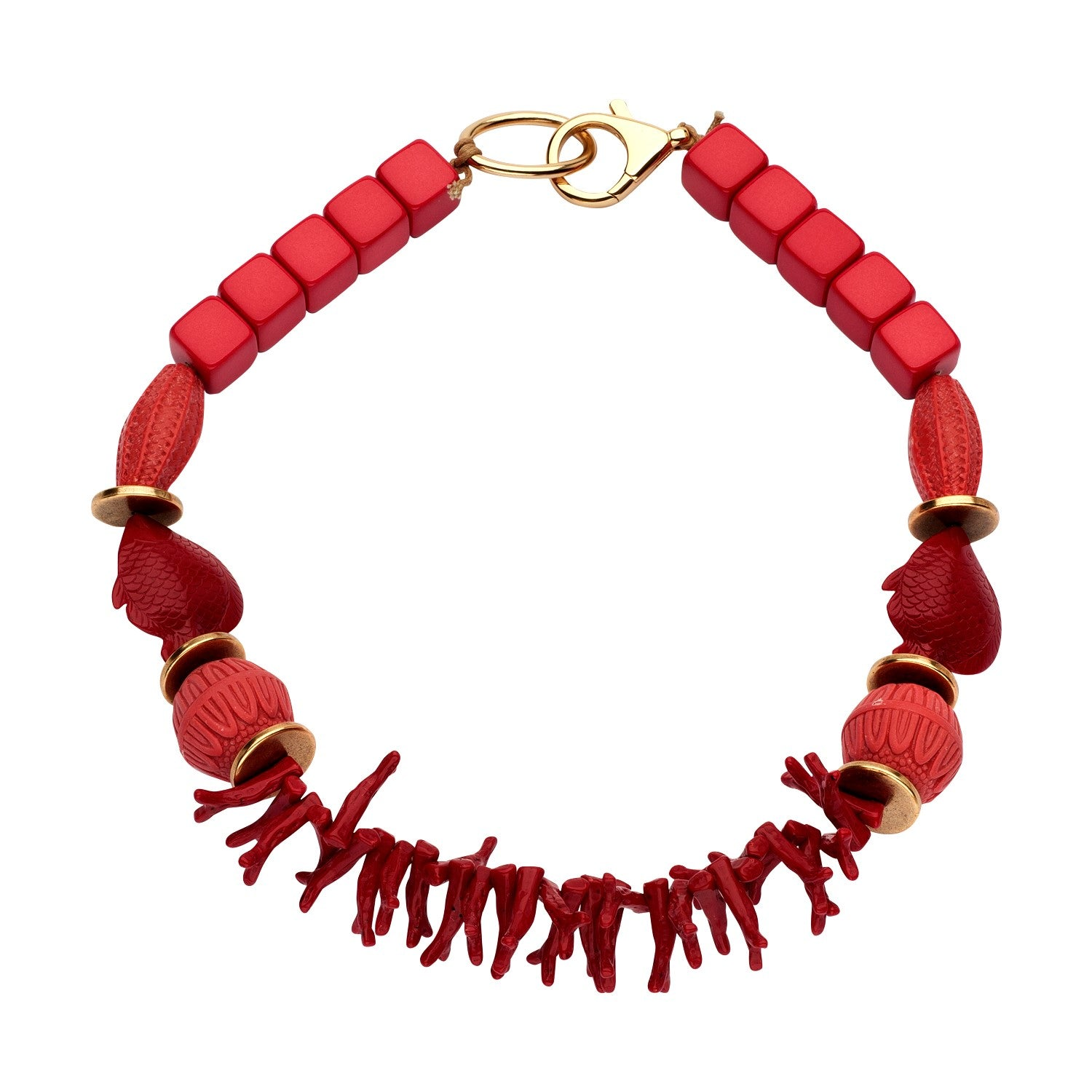 Beaded single necklace coral red