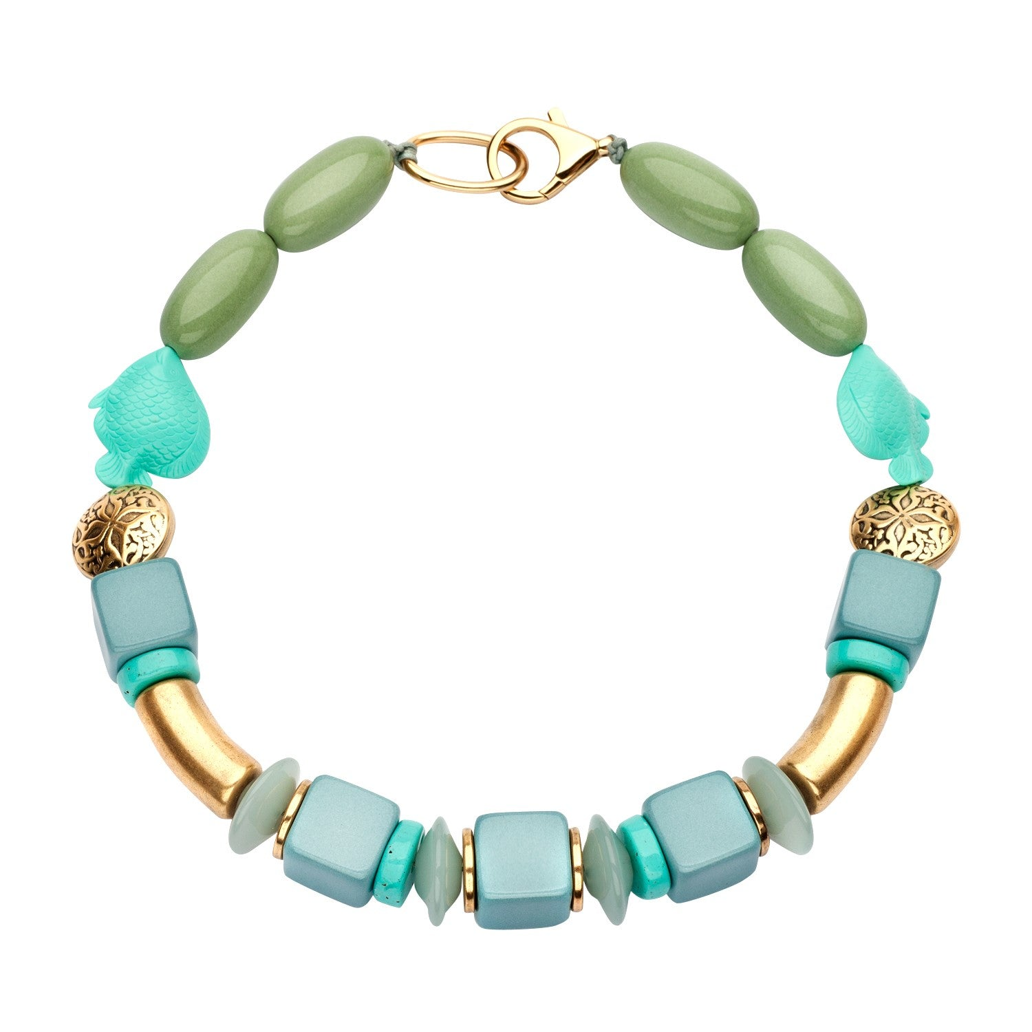 Beaded single necklace turquoise mint - Souvenirs de Pomme