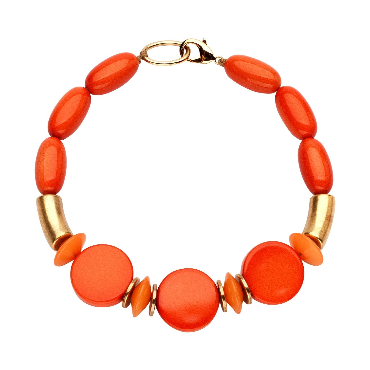 Beaded single necklace orange disks - Souvenirs de Pomme