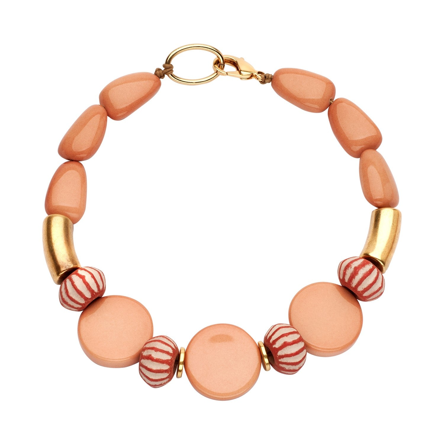 Beaded single necklace nude disks