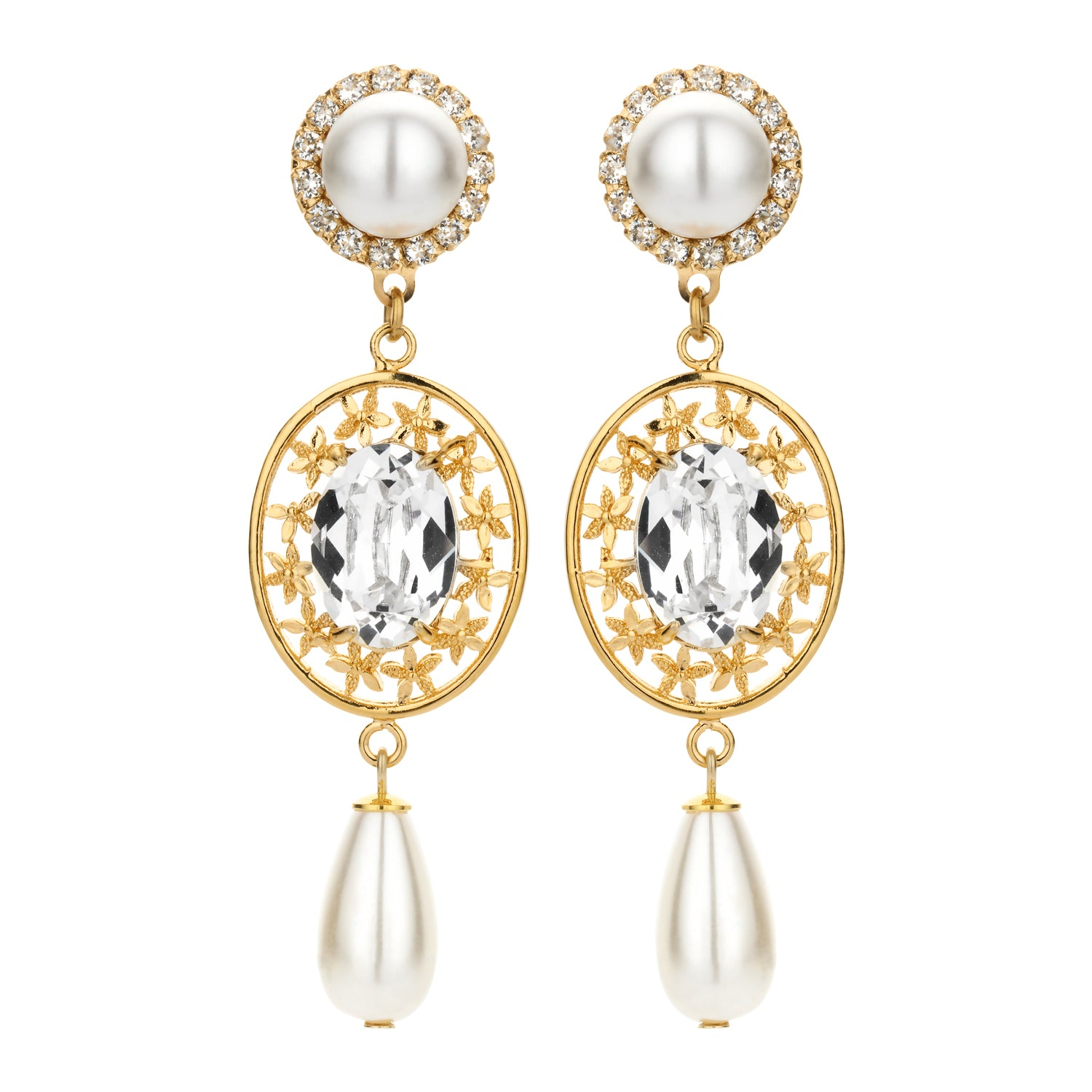Bridal statement earring pearl strass filigree - Souvenirs de Pomme