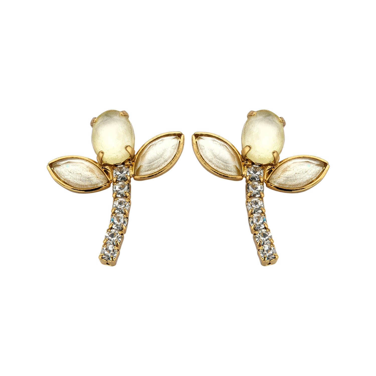 Bridal short earring ecru/yellow