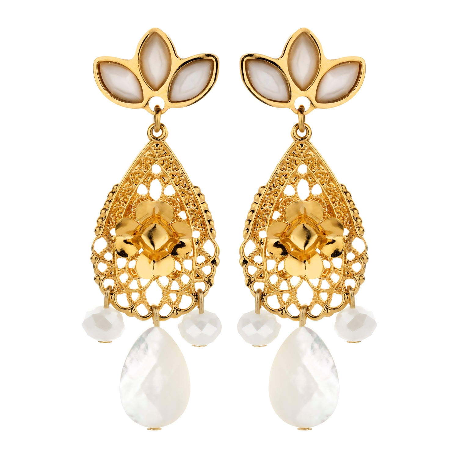 Bridal earring navettes gold
