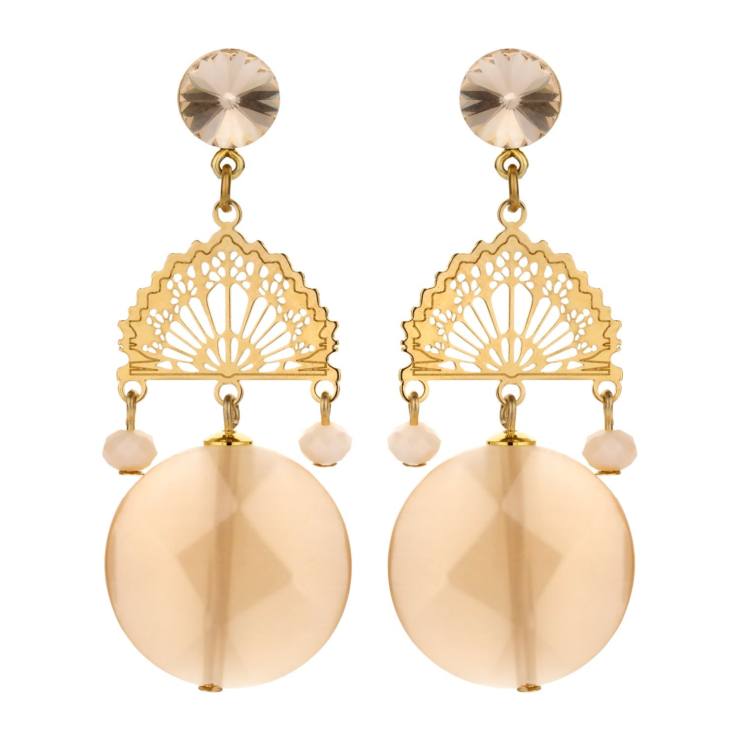 Bridal statement earring nude
