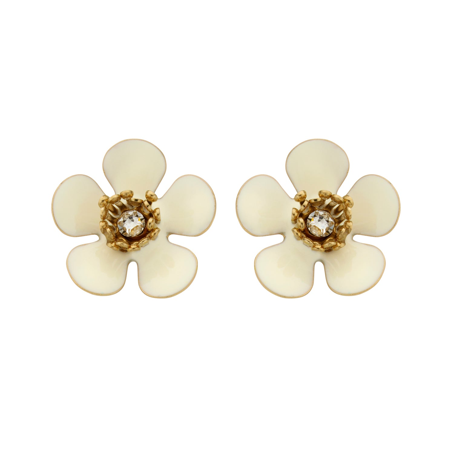 Gina mini enamel flower ecru earrings