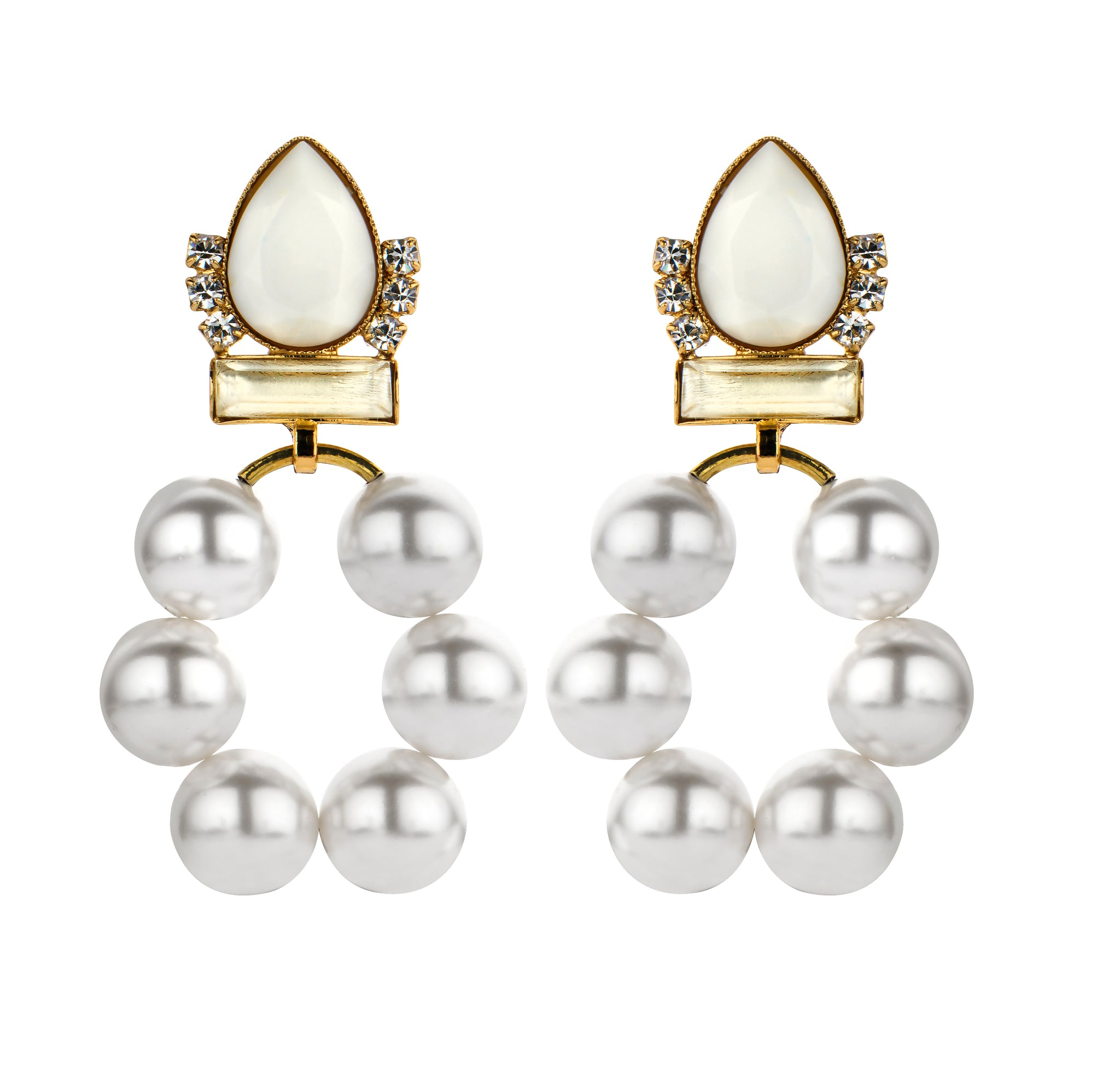 Bridal earring chrome pearl