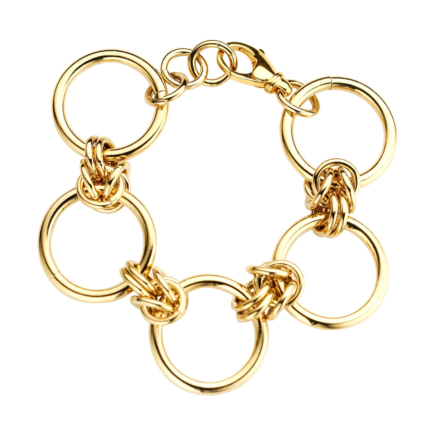 Rounds large chain gold bracelet