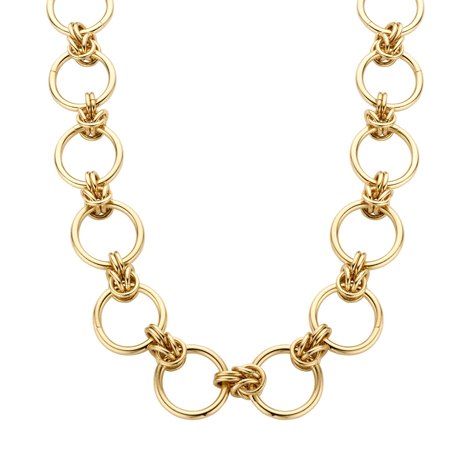 Rounds large chain gold necklace