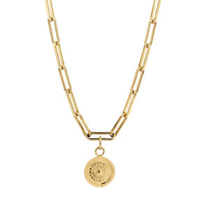 Link small chain necklace gold with coin
