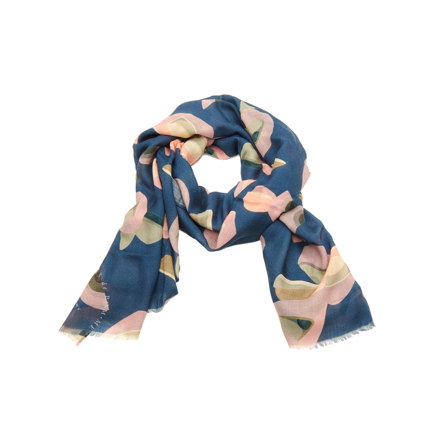 Scarf twill wool navy mix