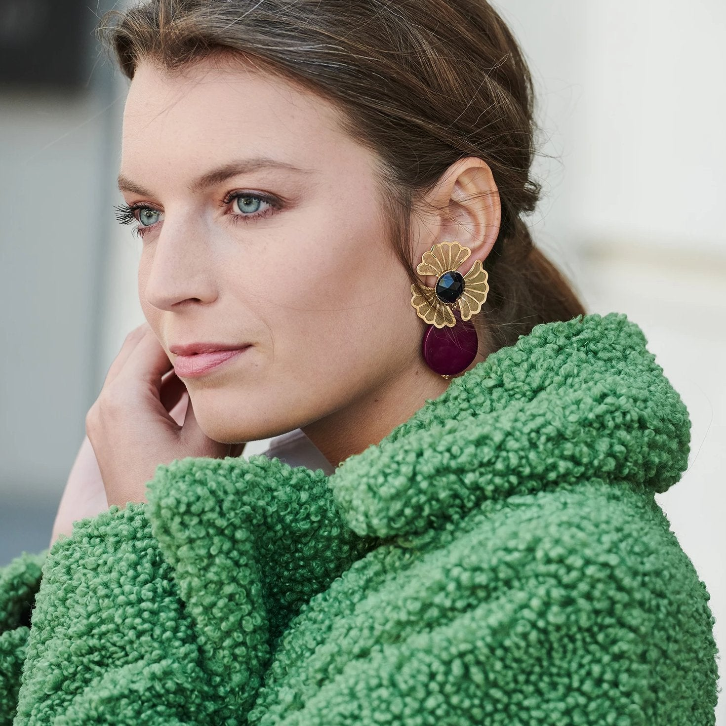 Mia statement aubergine earrings