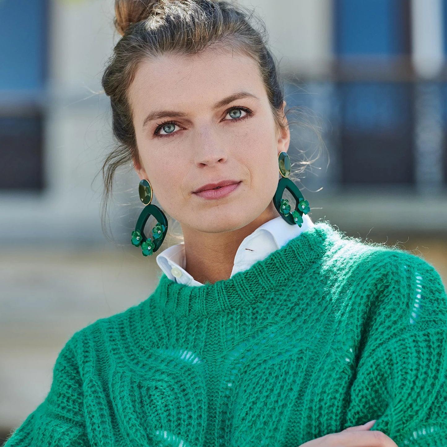 Lucia statement green earrings - Souvenirs de Pomme