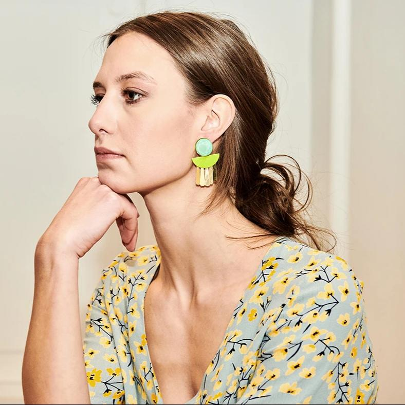 Moonlight fluo yellow earrings