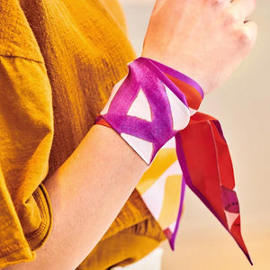 Twill tile purple red ribbon - Souvenirs de Pomme