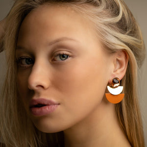 Duo moon rust orange earrings