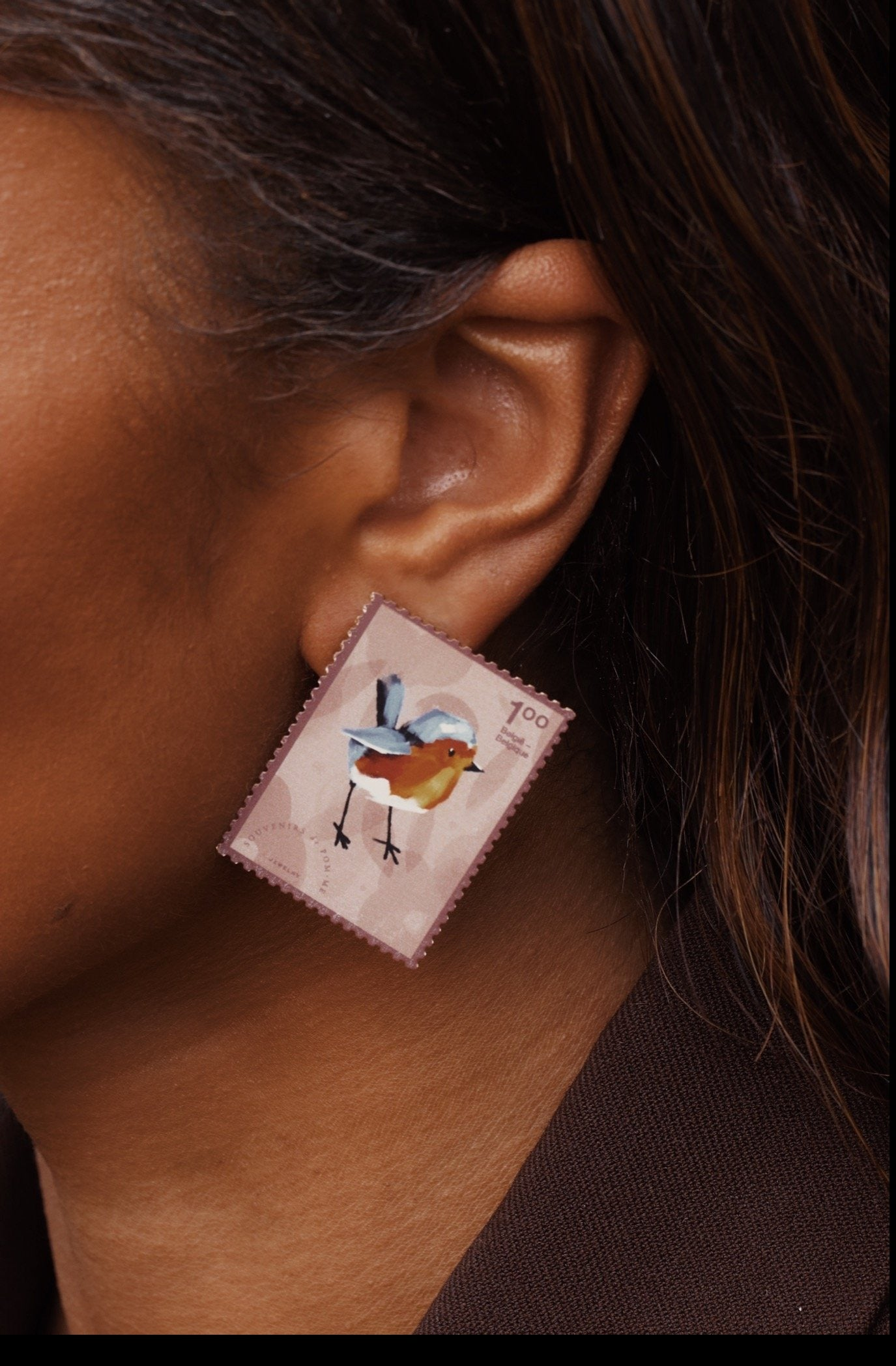 PRE-ORDER Memory stamp cognac mix earrings