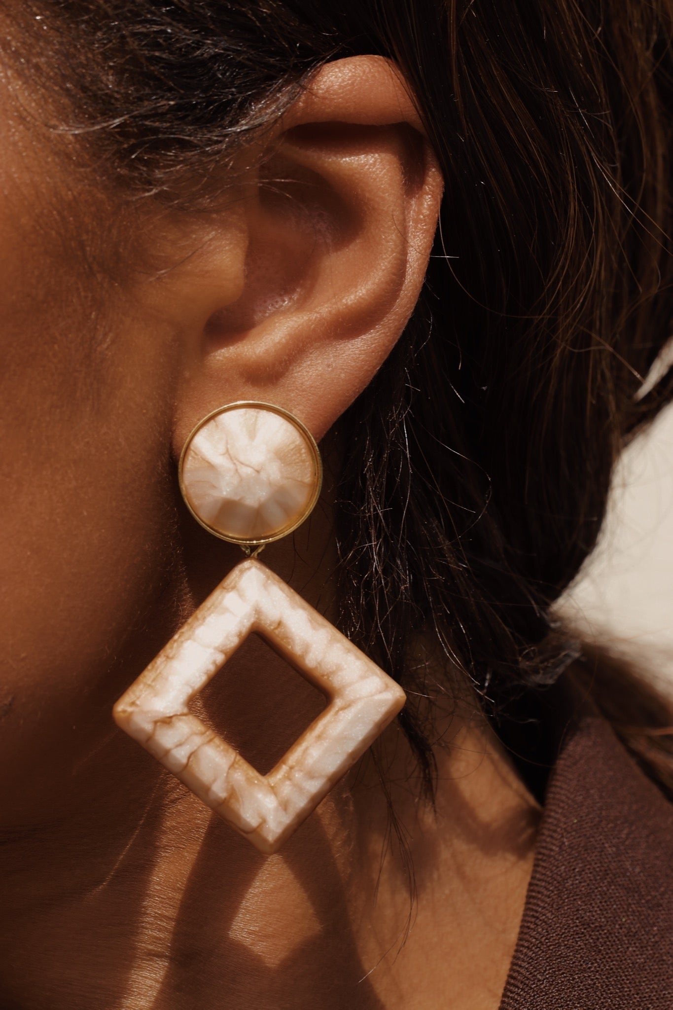 Jacky nude marble earrings